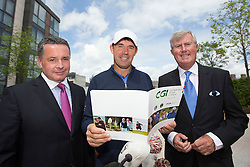 REPRO FREE: 06/05/2014 Dublin John Roche, Director of Golf and Business Development with the CGI15 is pictured with P&aacute;draig Harrington, three-time Major winner and Redmond O&rsquo;Donoghue, Chairman of the CGI Board the unveiling of the new Development Plan from the Confederation of Golf in Ireland (CGI), the body set up to support, promote and develop the game of golf on the island of Ireland. The Development Plan outlines the organisation&rsquo;s strategic vision for the future of golf in Ireland. <br /> <br /> The CGI will work in partnership with Irish golf clubs to help them broaden their membership base by offering  services, training, education and promotional initiatives, such as &lsquo;Get into Golf&rsquo; and &lsquo;Get Back into Golf&rsquo; programmes, which will introduce new participants to the game and encourage others who have left the sport to return.<br /> <br /> A not-for-profit body, the CGI was created last year by the Golfing Union of Ireland (GUI), the Irish Ladies Golf Union (ILGU) and the Professional Golfers Association (PGA) to complement the work of the three associations in advancing the sport of golf in Ireland. Picture Andres Poveda<br /> <br /> ENDS<br /> <br /> For more details on CGI events taking place in your area, check out www.cgigolf.org<br /> <br /> For more details, please contact:<br /> Breda Brown / Tara Humphreys, Unique Media<br /> Tel: (01) 522 5200 or 087 2487120 (BB)