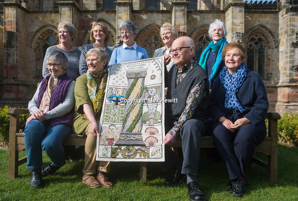 FREE PICTURE FOR GREAT TAPESTRY OF SCOTLAND PUBLICITY. TO ACCOMPANY PRESS RELEASE.<br /> <br /> The Roslin stitching group of the Great Tapestry of Scotland showcase the replacement for the Rosslyn chapel panel that was stolen in September 2015<br /> <br /> l-r<br /> Back Row: Pip Peat, Leslie Kerr (Trustee), Jinty Murray, Margaret Humphries, Jean Lindsay<br /> Front Row: Barbara Stokes, Fiona Macintosh, Andrew Crummy, Anne Beedie<br /> <br /> picture by Alex Hewitt<br /> alex.hewitt@gmail.com<br /> 07789 871 540