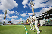 Tom Latham of the New Zealand Black Caps and Martin Guptill of the New Zealand Black Caps ready for the second innings during Day 5 on the 17th of November 2015. The New Zealand Black Caps tour of Australia, 2nd test at the WACA ground in Perth, 13 - 17th of November 2015.   Photo: Daniel Carson / www.photosport.nz