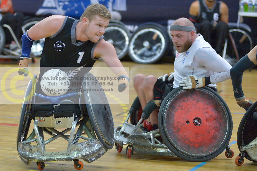 NZL V Denmark at the 2016 IWRF Rio Qualifiers, Paris, France