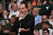 January 12, 2017: Head coach Mike Brey of Notre Dame in action during the NCAA basketball game between the Miami Hurricanes and the Notre Dame Fighting Irish in Coral Gables, Florida. The Irish defeated the 'Canes 67-62.