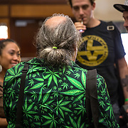 Washington, DC - AUG20: Attendees wear marijuana inspired clothing at the The B.U.D. Summit, the Business, Understanding, & Development Summit, August 20, 2016, at the Renaissance Hotel in Washington, DC. The BUD Summit is poised to capture and accelerate the explosion of cannabis culture, business, and investment that has occurred in Washington, D.C. since the passing of initiative 71 in 2015. Photo by Evelyn Hockstein