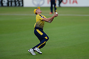 Gavin Griffiths of Hampshire takes a catch to dismiss Peter Trego of Somerset during the NatWest T20 Blast South Group match between Hampshire County Cricket Club and Somerset County Cricket Club at the Ageas Bowl, Southampton, United Kingdom on 29 July 2016. Photo by David Vokes.