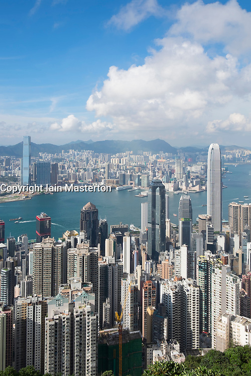Daytime skyline of Hong Kong and Victoria Harbour from The Peak on a clear day