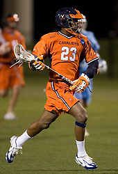 Virginia Cavaliers M Will Barrow (23) in action against UNC.  The Virginia Cavaliers Men's Lacrosse Team defeated the North Carolina Tar Heels 10-9 in overtime at Klockner Stadium in Charlottesville, VA on April 7, 2007.
