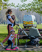 The police make a visible but low key presence to ensure that people stick to the exercise guidance - Clapham Common is pretty quiet now Lambeth Council has taped up all the benches. The 'lockdown' continues for the Coronavirus (Covid 19) outbreak in London.