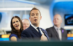 Simom Thomas and Kirsty Gallacher at the Sky Sports TV studio for the transfer Deadline Day show..© Michael Schofield...