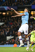 Manchester City midfielder Rodri (16) goes for the high ball during the Champions League match between Manchester City and Dinamo Zagreb at the Etihad Stadium, Manchester, England on 1 October 2019.