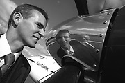 Seamus Byrne of EuroManx and Tom Howe (Edinburgh Airport operations manager) at the arrival of the company's first flight from the Isle of Man to Edinburgh.<br /> <br /> Pic M K Jackson. 19.08.02