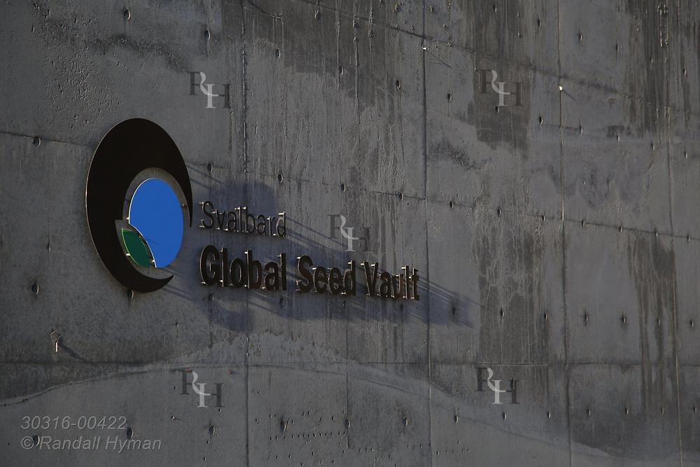 Outside wall of Global Seed Vault in Longyearbyen on Spitsbergen island, Svalbard, Norway.