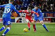 Scunthorpe Utd forward George Thomas (18) shields the ball during the EFL Sky Bet League 1 match between Peterborough United and Scunthorpe United at London Road, Peterborough, England on 1 January 2019.