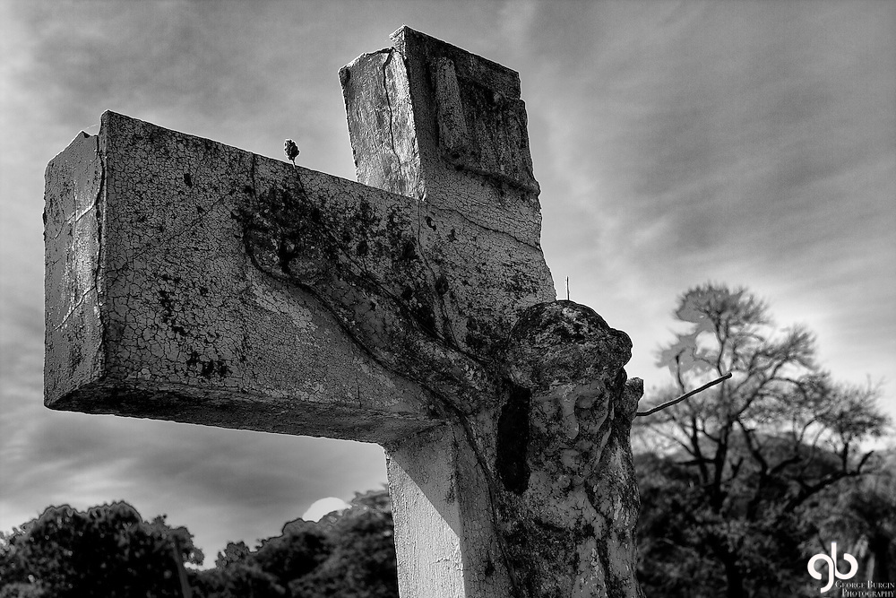 Broken cross found at a cemetery in Costa Rica.