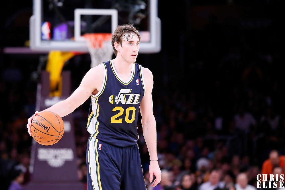 11 February 2014: Utah Jazz shooting guard Gordon Hayward (20) brings the ball up court during the Utah Jazz 96-79 victory over the Los Angeles Lakers at the Staples Center, Los Angeles, California, USA.