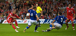 CARDIFF, WALES - Friday, September 5, 2008: Wales' Robert Earnshaw shoots against Azerbaijan during the opening 2010 FIFA World Cup South Africa Qualifying Group 4 match at the Millennium Stadium. (Photo by David Rawcliffe/Propaganda)