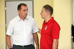 Manager of club Mijo Zorko and coach Tone Tiselj at press conference of handball club RK Celje Pivovarna Lasko before new season 2008/2009, on September 2, 2008 in Celje, Slovenia. (Photo by Vid Ponikvar / Sportal Images)