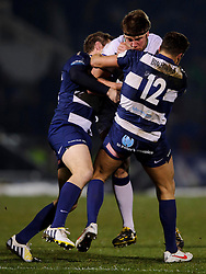 Leeds Carnegie Flanker (#6) Rob Baldwin is tackled by Bristol Inside Centre (#12) Ben Mosses during the first half of the match - Photo mandatory by-line: Rogan Thomson/JMP - Tel: Mobile: 07966 386802 25/01/2013 - SPORT - RUGBY - Memorial Stadium - Bristol. Bristol v Leeds Carnegie - RFU Championship.