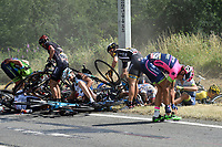 Sykkel<br /> Foto: PhotoNews/Digitalsport<br /> NORWAY ONLY<br /> <br /> Big crash with POZZATO Filippo of Lampre - Merida, DEMPSTER Zakkari of Bora-Argon 18, JANSE VAN RENSBURG Reinardt of MTN - Qhubeka and CANCELLARA Fabian of Trek Factory Racing during the stage 3 of the 102nd edition of the Tour de France 2015 with start in Antwerp and finish in Huy, Belgium (159 kms) *** HUY, BELGIUM - 6/07/2015