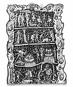 Hell: Engraving after miniature in 12th century manuscript  'Hortus deliciarum' produced in monastery at Hohembourg and destroyed in the burning of Strasbourg Library during the Franco-Prussian War 1870-1871.