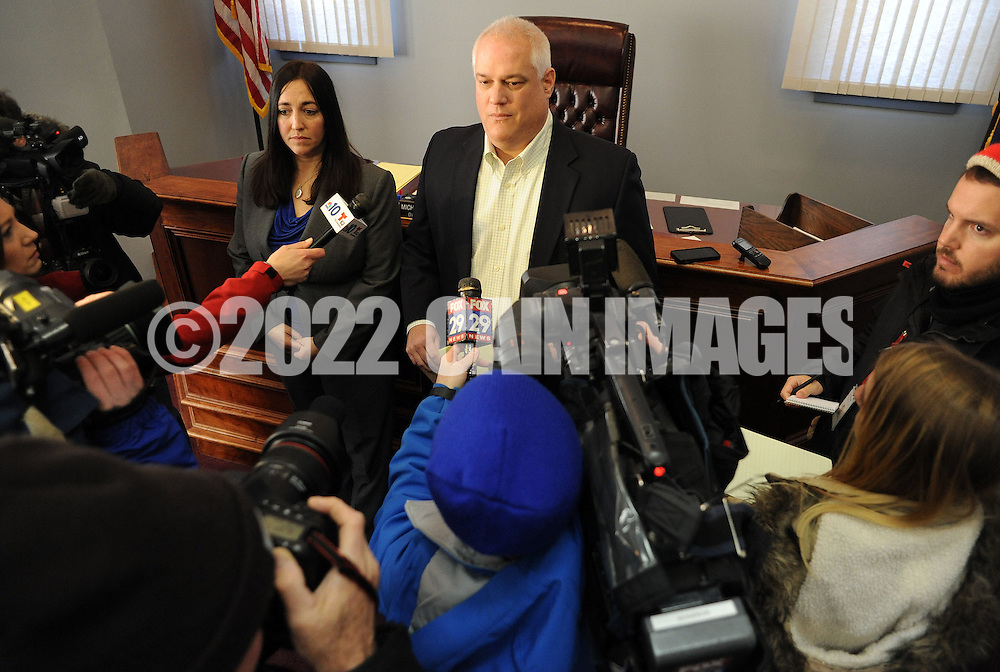 Bucks County District Attorney Matt Weintraub speaks with the media after the arraignment of Sara Packer, Sunday January 8, 2017 in Newtown, Pennsylvania. She is accused of conspiring with her boyfriend Jacob Sullivan, to rape and kill her daughter Grace Packer, dismembering her body and dumping her remains in a wooded area of Northeastern Pennsylvania, some 100 miles from where Grace lived in Abington Township. (Photo by William Thomas Cain/Cain Images)