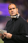 MINNEAPOLIS - NOVEMBER 21:  Head Coach Mike Tice of the Minnesota Vikings checks out the scoreboard during a fourth quarter Vikings comeback against the Detroit Lions at the Hubert H. Humphrey Metrodome on November 21, 2004 in Minneapolis, Minnesota. The Vikings defeated the Lions 22-19. ©Paul Anthony Spinelli  *** Local Caption *** Mike Tice