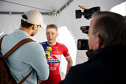 Marko Kump of KK Adria Mobil with journalists after winning during cycling race 5th Grand Prix Adria Mobil, on April 7, 2019, in Slovenia. Photo by Vid Ponikvar / Sportida