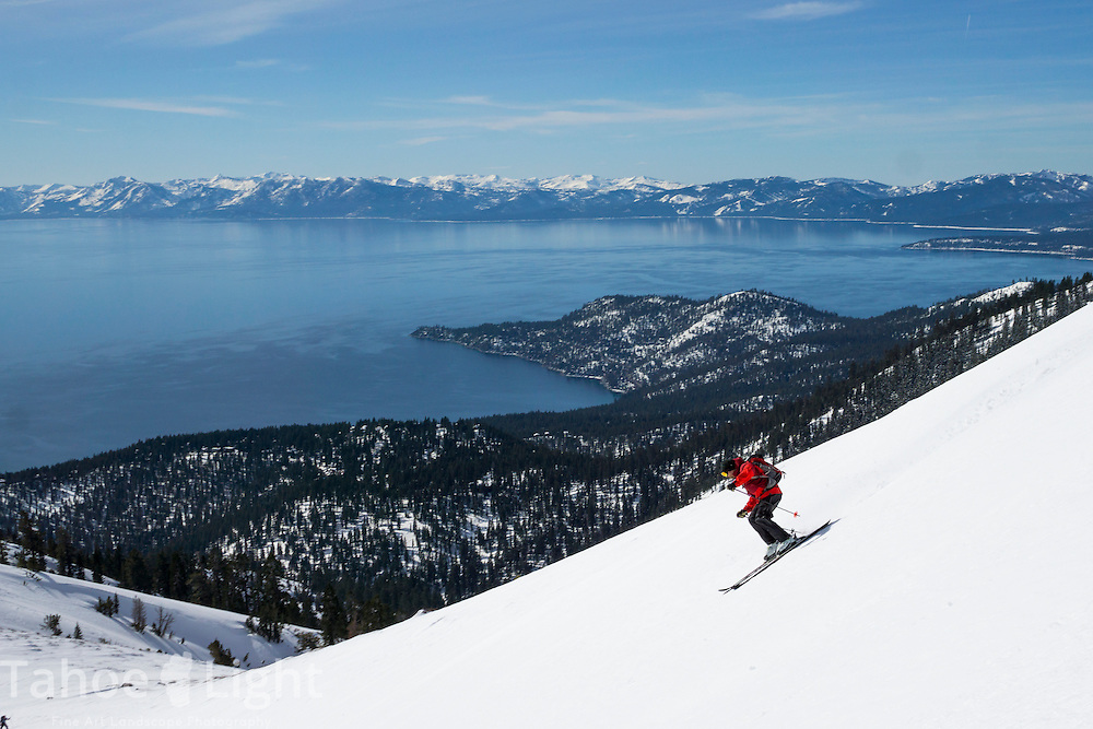 Backcountry skiing on Rose Nob Peak near Lake Tahoe, California