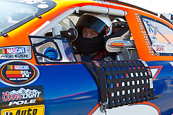 ROSEVILLE, CA - OCTOBER 13: Derek Thorn, driver of the #6 Sunrise Ford/Lucas Oil/Eibach Ford sits in his car during practice for the NASCAR K&N Pro Series West Toyota/NAPA 150 at the All American Speedway on October 13, 2012 in Roseville, California. (Photo by Jason O. Watson/Getty Images for NASCAR) *** Local Caption *** Derek Thorn