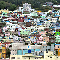 Colorful Buildings on Yeong Island in Busan, South Korea <br />