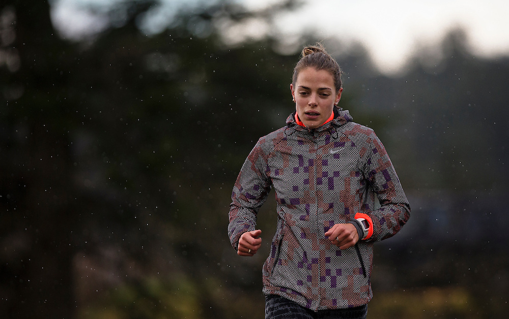 Melissa Bishop runs hill sets at the Pacific Institute for Sport Excellence on December 3rd, 2015 in Victoria, British Columbia Canada.