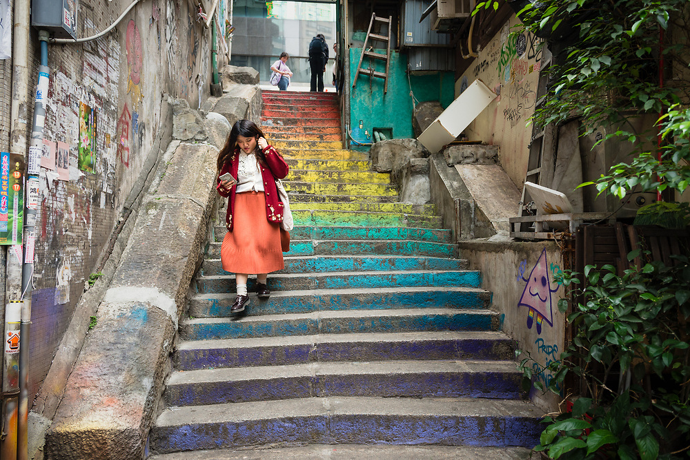 Colourfully painted steps in Jervois Street, Hong Kong