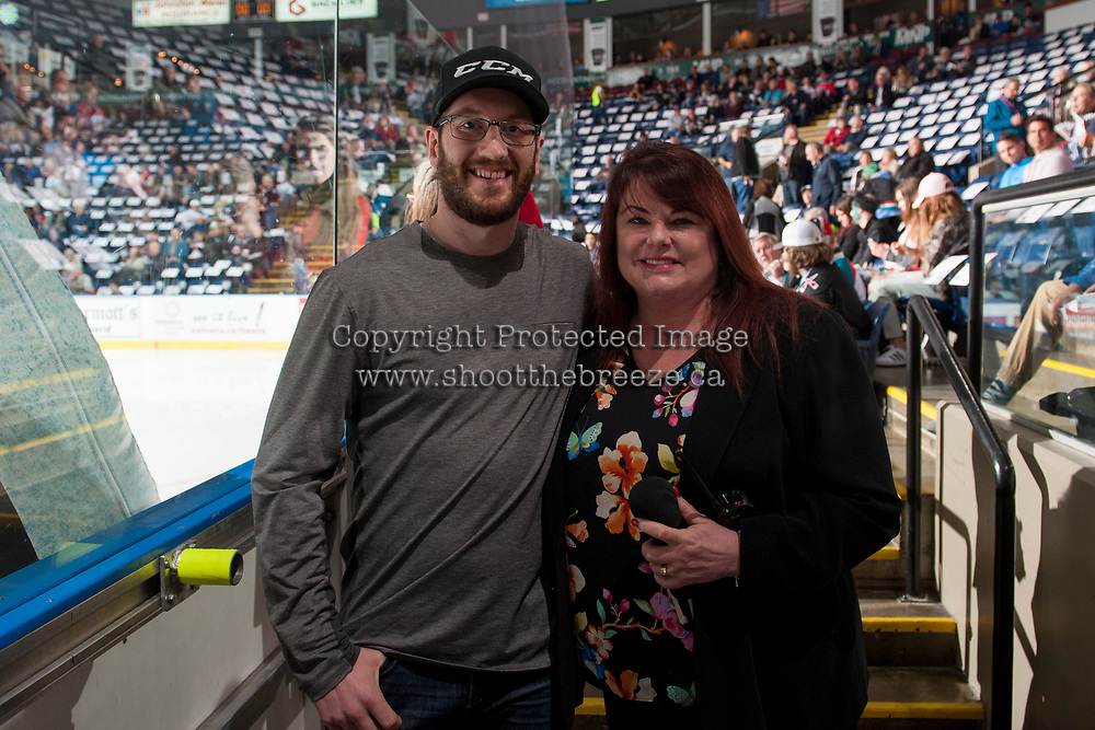 KELOWNA, CANADA - APRIL 25: Former Kelowna Rockets player Brett Palin stands with Anne Marie Hamilton on April 25, 2017 at Prospera Place in Kelowna, British Columbia, Canada.  (Photo by Marissa Baecker/Shoot the Breeze)  *** Local Caption ***