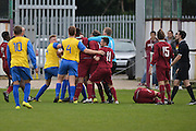 Emotions boil over during the Southern Counties East match between AFC Croydon Athletic and Hollands & Blair at the Mayfield Stadium, Croydon, United Kingdom on 10 October 2015. Photo by Mark Davies.