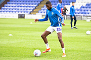 Macclesfield Town midfielder Emmanuel Osadebe warming up before the  EFL Sky Bet League 2 match between Macclesfield Town and Morecambe at Moss Rose, Macclesfield, United Kingdom on 20 August 2019.