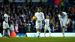 Samu Saiz of Leeds United and teammates cut dejected figures after Sam Winnall of Derby County scores a goal to make it 1-1 - Mandatory by-line: Robbie Stephenson/JMP - 31/10/2017 - FOOTBALL - Elland Road - Leeds, England - Leeds United v Derby County - Sky Bet Championship