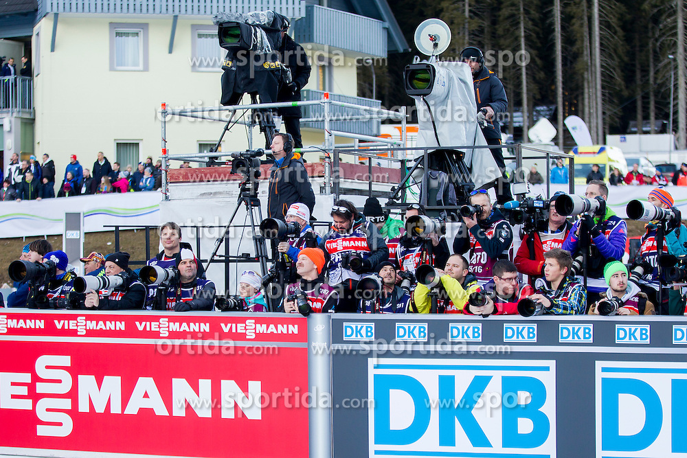 Photographers during Women 12.5 km Mass Start at day 4 of IBU Biathlon World Cup 2015/16 Pokljuka, on December 20, 2015 in Rudno polje, Pokljuka, Slovenia. Photo by Urban Urbanc / Sportida