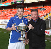 St Johns captain Kieran Conway receives the U16 Dundee United Cup Final (sponsored by Arab Trust) from Arab Trust's Colin Stewart <br /> <br />  - &copy; David Young - www.davidyoungphoto.co.uk - email: davidyoungphoto@gmail.com