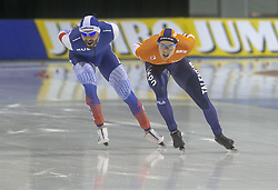 March 9, 2019 - Salt Lake City, Utah, USA - Marcel Bosker of the Netherlands (R) and Alexander Rumyantsev of Russia (L) compete in the 5000m speed skating finals at the ISU World Cup at the Olympic Oval in Salt Lake City, Utah. (Credit Image: © Natalie Behring/ZUMA Wire)