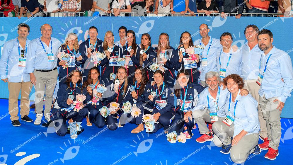 Team Spain<br /> USA  (white cap) -  Spain (blue cap)<br /> Gold medal game Water Polo Woman<br /> Day15  28/07/2017 <br /> XVII FINA World Championships Aquatics<br /> Alfred Hajos Complex Margaret Island  <br /> Budapest Hungary <br /> Photo @Deepbluemedia/Insidefoto Photo @Marcelterbals/Deepbluemedia/Insidefoto
