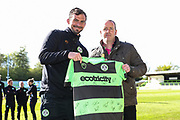 match sponsor Wheatly Printers with MOM Forest Green Rovers Gavin Gunning(16) during the EFL Sky Bet League 2 match between Forest Green Rovers and Exeter City at the New Lawn, Forest Green, United Kingdom on 4 May 2019.