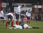 Jim McAlister head knock - Dundee  v Falkirk - SPFL Championship at Dens Park<br /> <br />  - &copy; David Young - www.davidyoungphoto.co.uk - email: davidyoungphoto@gmail.com
