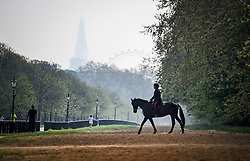 © Licensed to London News Pictures. 22/04/2019. London, UK. A man rides a horse through Hyde Park in London in the early morning sunshine, on what has been a record breaking Easter bank holiday weekend for temperatures. Photo credit: Ben Cawthra/LNP