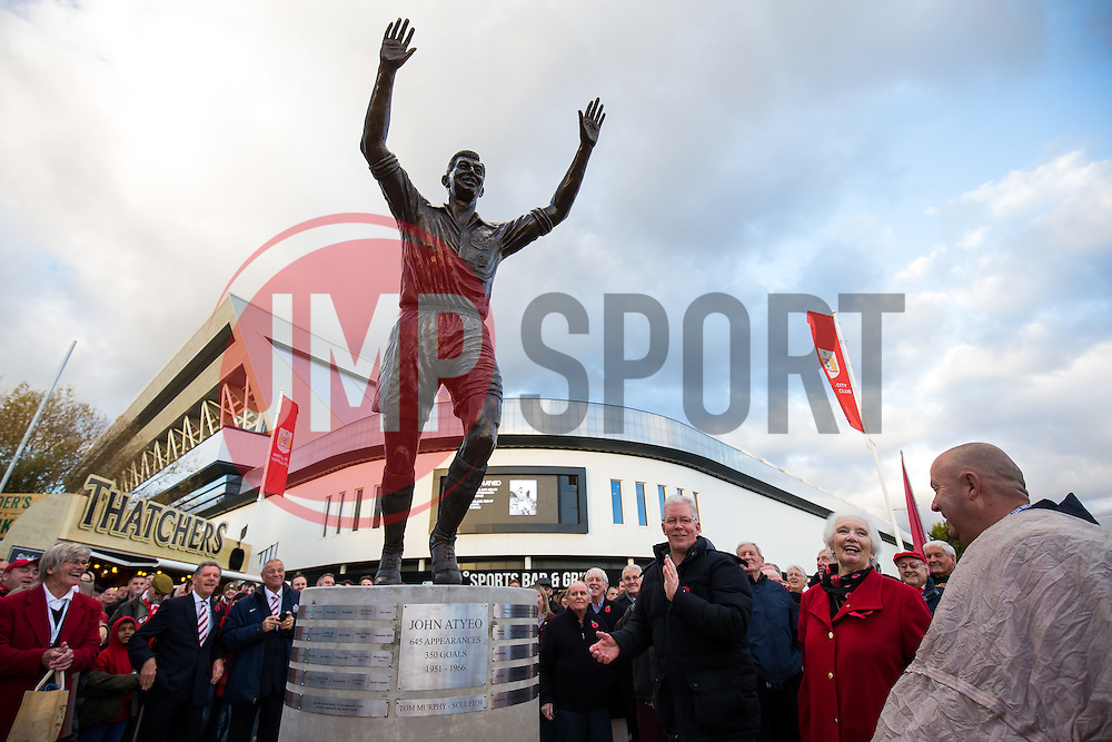 Statue of Bristol City legend John Atyeo is unveiled with the help of Marina Dolman at the redeveloped Ashton Gate - Rogan Thomson/JMP - 05/11/2016 - FOOTBALL - Ashton Gate Stadium - Bristol, England - Bristol City v Brighton & Hove Albion - Sky Bet Championship.