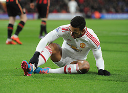 Memphis Depay of Manchester United holds is ankle. - Mandatory byline: Alex James/JMP - 12/12/2015 - Football - Vitality Stadium - Bournemouth, England - AFC Bournemouth v Manchester United - Barclays Premier League