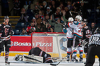 KELOWNA, CANADA - FEBRUARY 1: Nick Merkley #10 and Devante Stephens #21 of the Kelowna Rockets raise their arms in celebration of a second period goal against the Calgary Hitmen on February 1, 2017 at Prospera Place in Kelowna, British Columbia, Canada.  (Photo by Marissa Baecker/Shoot the Breeze)  *** Local Caption ***