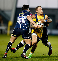 Rob Webber of Sale Sharks tackles Francois Hougaard of Worcester Warriors - Mandatory by-line: Matt McNulty/JMP - 07/04/2017 - RUGBY - AJ Bell Stadium - Sale, England - Sale Sharks v Worcester Warriors - Aviva Premiership