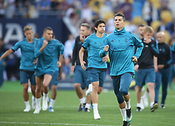 May 25, 2018 - Kiev, Ukraine - Real Madrid's Portuguese forward Cristiano Ronaldo runs during a Real Madrid team training session at the Olympic Stadium in Kiev, Ukraine on May 25, 2018, on the eve of the UEFA Champions League final football match between Liverpool and Real Madrid. (Credit Image: © Raddad Jebarah/NurPhoto via ZUMA Press)