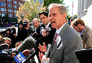 Elizabeth Smart's father Ed Smart (right) talks to the media outside federal court following her daughter's testimony in a competency hearing for her alleged kidnapper,  Brian David Mitchell, Oct. 1 2009, in Salt Lake City. (AP Photo/Colin Braley)