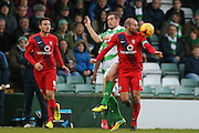 York City midfielder Russell Penn  wins the ball during the Sky Bet League 2 match between Yeovil Town and York City at Huish Park, Yeovil, England on 2 January 2016. Photo by Simon Davies.