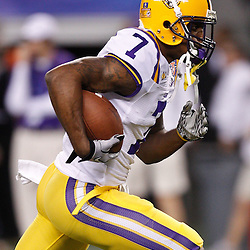 Jan 7, 2011; Arlington, TX, USA; LSU Tigers cornerback Patrick Peterson (7) during warm ups prior to kickoff of the 2011 Cotton Bowl against the Texas A&M Aggies at Cowboys Stadium. LSU defeated Texas A&M 41-24.  Mandatory Credit: Derick E. Hingle