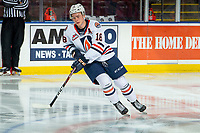 KELOWNA, BC - OCTOBER 12: Connor Zary #18 of the Kamloops Blazers warms up on the ice against the Kelowna Rockets at Prospera Place on October 12, 2019 in Kelowna, Canada. (Photo by Marissa Baecker/Shoot the Breeze)